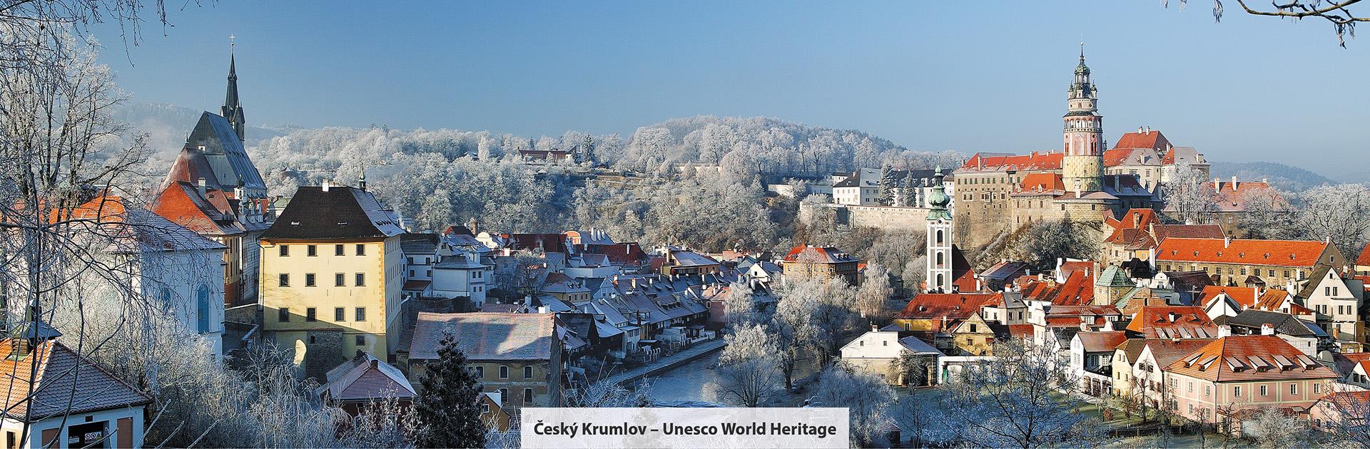 Český Krumlov, zimní pohled na město, zdroj: Libor Sváček, archiv Vydavatelství MCU